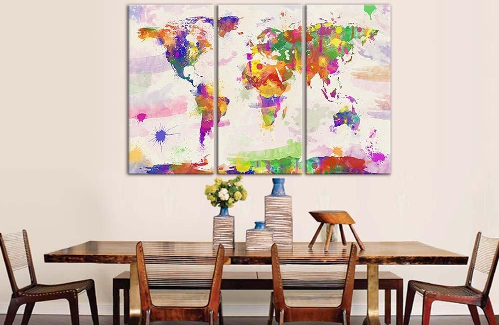 Impresión en acuarela de mapa del mundo sobre lienzo
