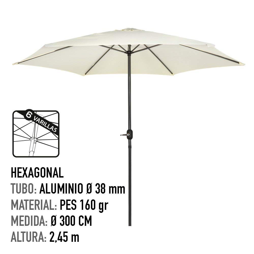 Aktive Garden Parasol Hexagonal y Aktive Soporte parasol